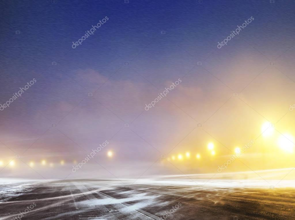winter road to airport at night