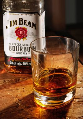 glass of Jim Beam whisky