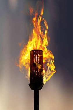 burning torch at night