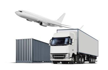 cargo transports on white