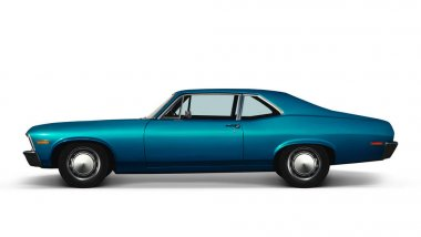 blue retro car on white