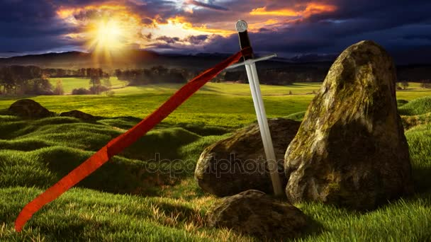 Sword in the dramatic sunny landscape.