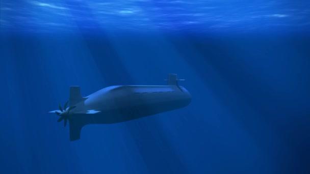 995b7afea7af4e Atom Boot Unter Der Welle Mit Sonnenstrahlen Unterwasser Blaues Licht–  Stock-Filmmaterial