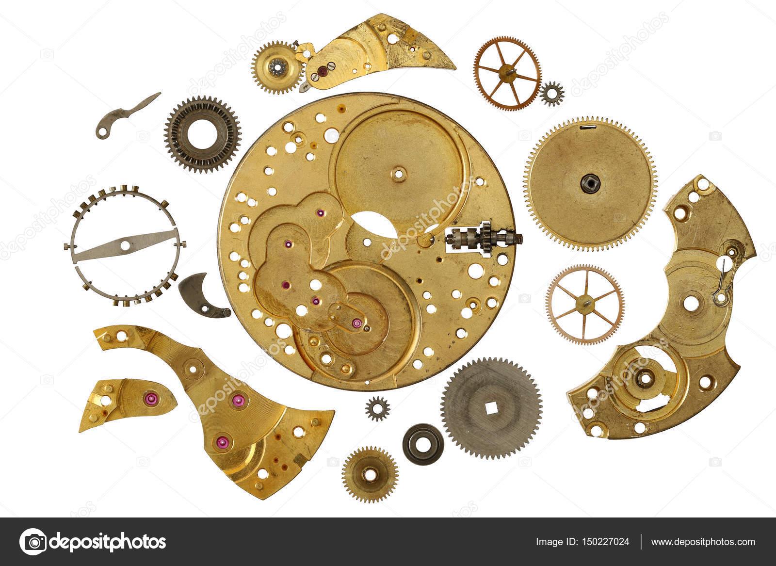 Partes Un Desmontadas Reloj Relojería Distintas Mecanismo De bvYfg67y