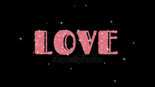 Word Love Animated With Stars And Glitter Stock