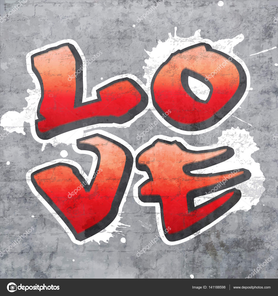 La palabra amor escrita en un cuadrante en estilo graffiti con toques de fondo y pintura de pared de ladrillo gris tema de amor romance y san valentín