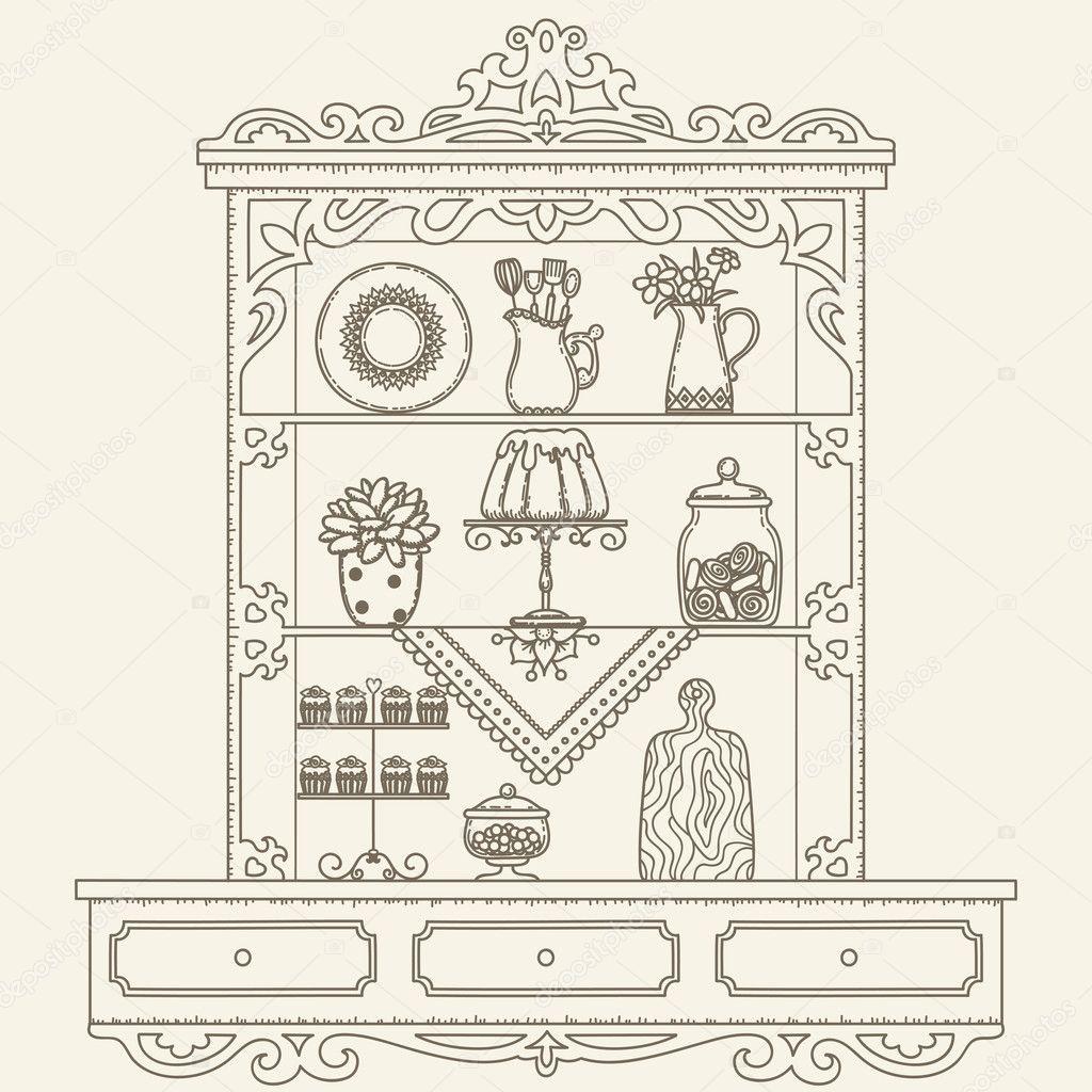 Hand-gezeichneten Umriss Vektor Vintage Regale/Küchenschrank ...