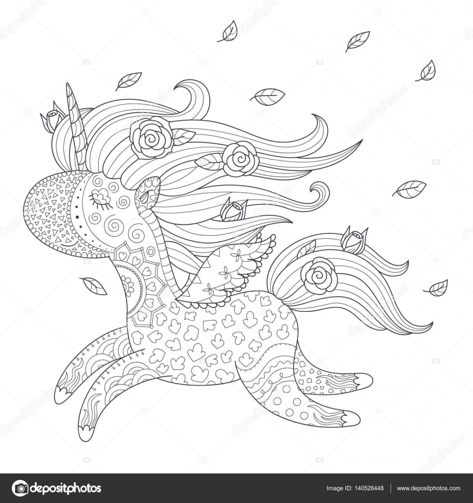 Unicorn Coloring Page Stock Vector C Natalie Art 140526448