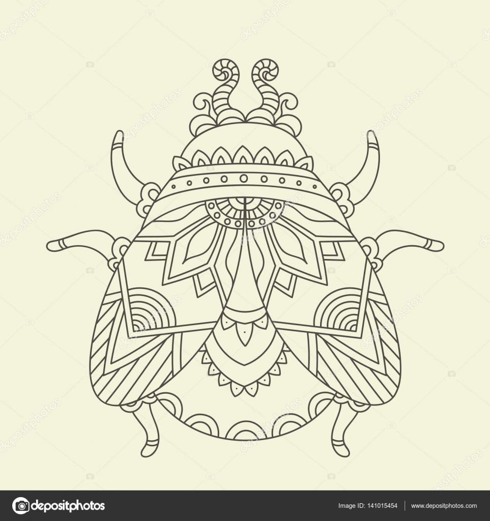 Hand Getekende Kever Bug Kleurplaat Stockvector C Natalie Art