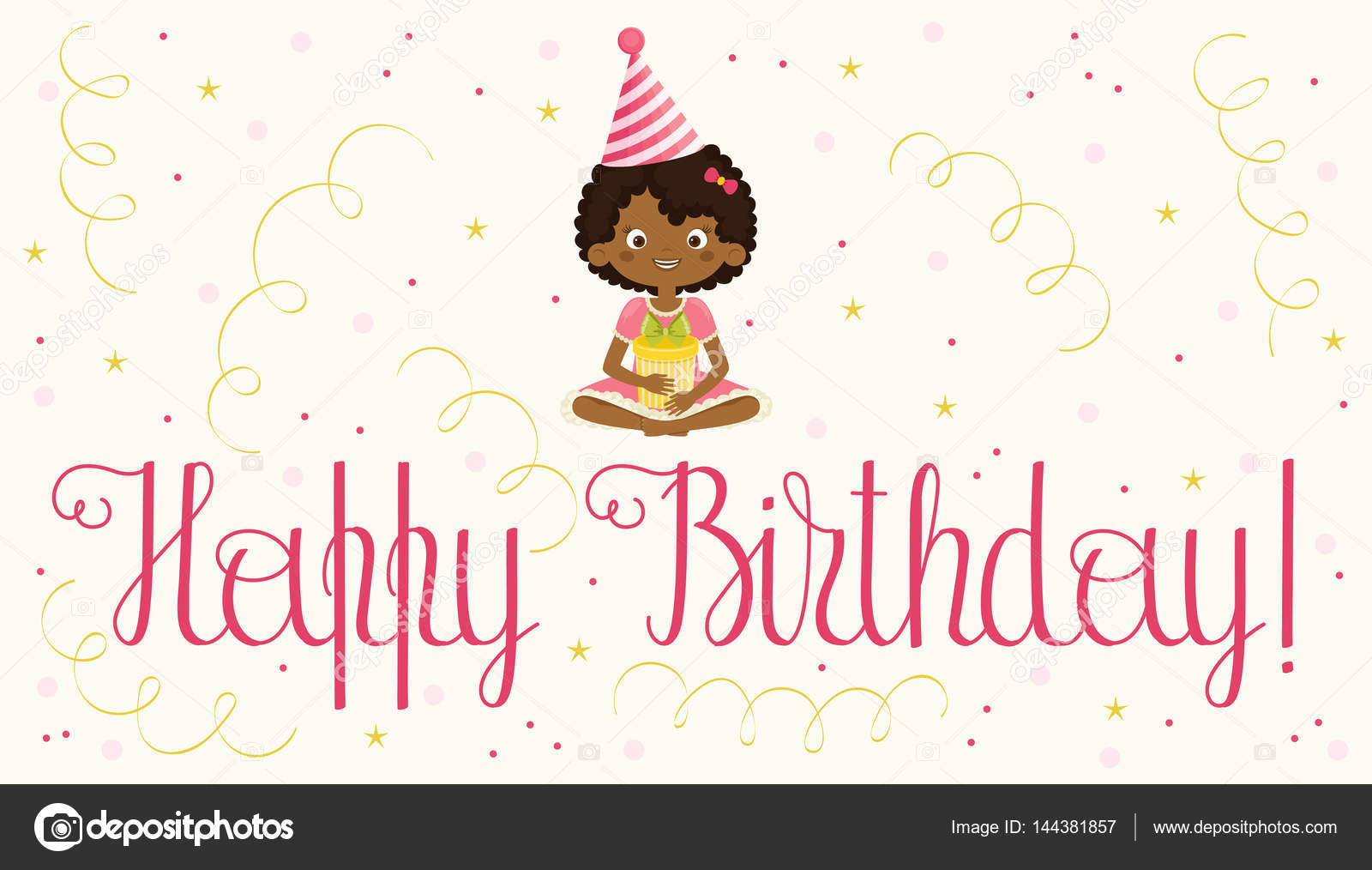 Happy birthday card with black girl stock vector natalie art black birthday girl with a gift box in birthday hat and confetti around handwritten lettering happy birthday vector art vector by natalie art bookmarktalkfo Gallery