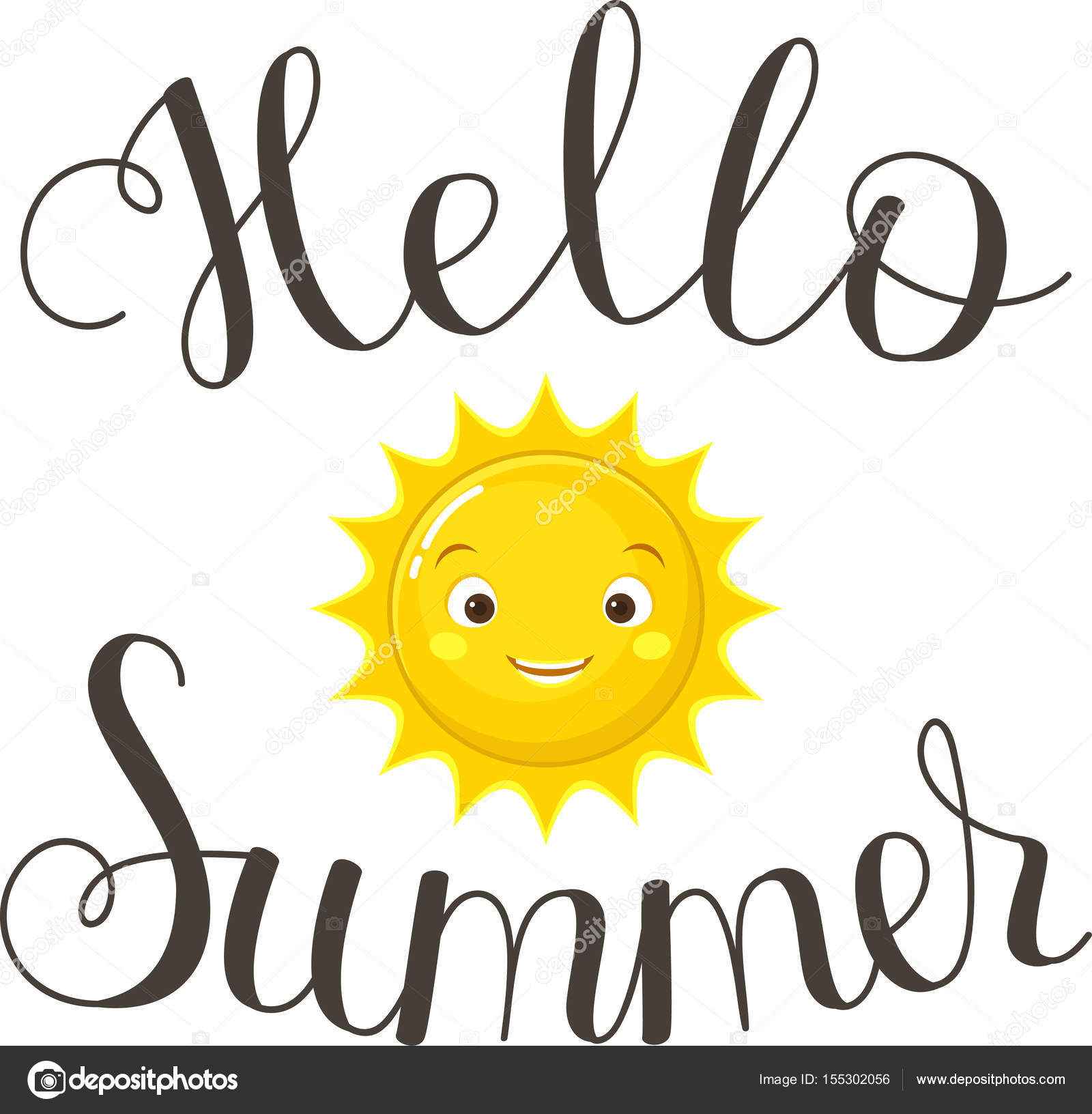 Hand Drawn Lettering Hello Summer. Hand Drawn Letters With Happy Smiling  Sun. Handwritten Quote. Poster, Greeting Card, Wall Art Or Wallpaper  Template.