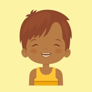Dark skin little boy laughing facial expressio