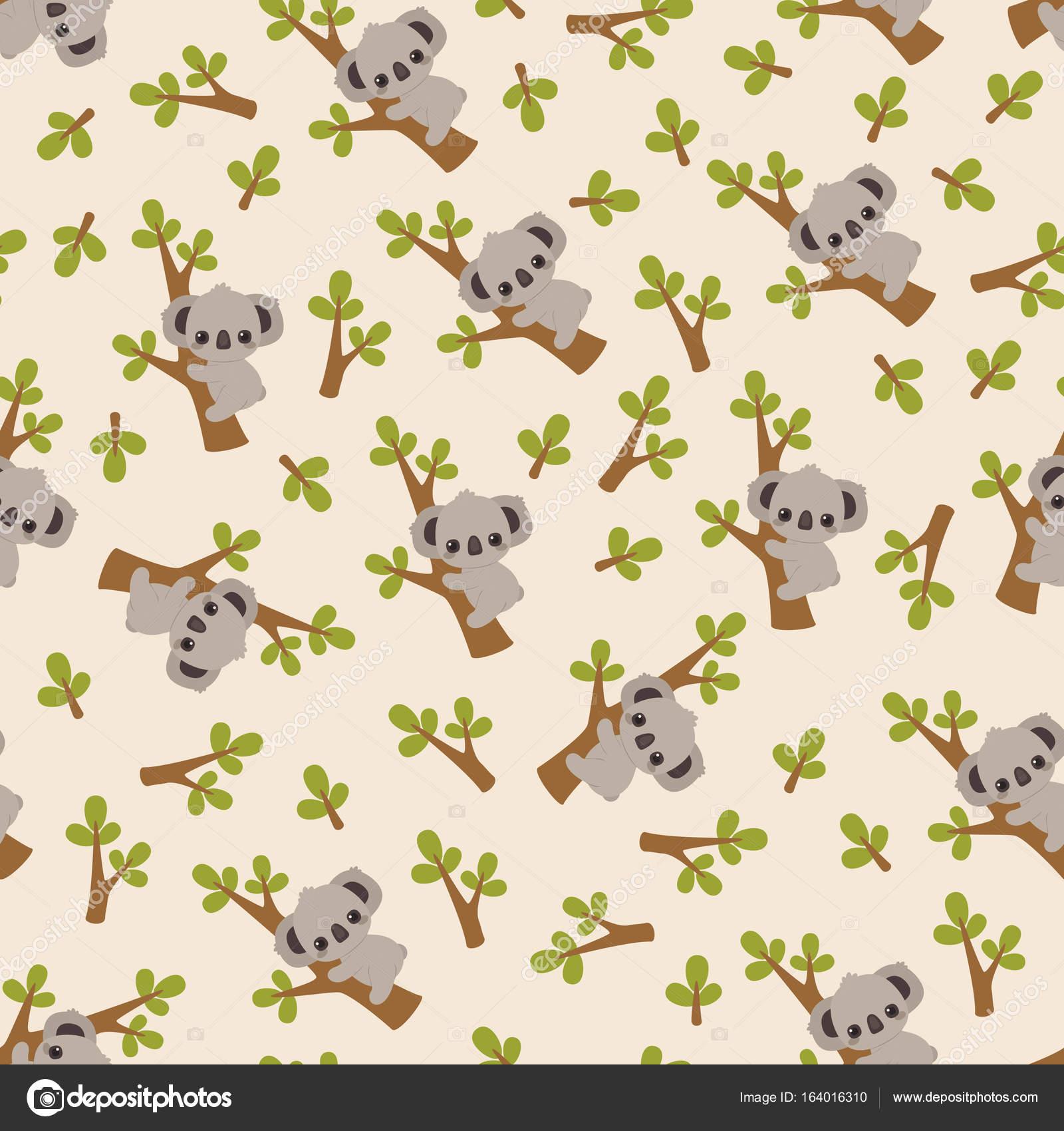 Koala en un patrón sin fisuras de árbol — Archivo Imágenes ...