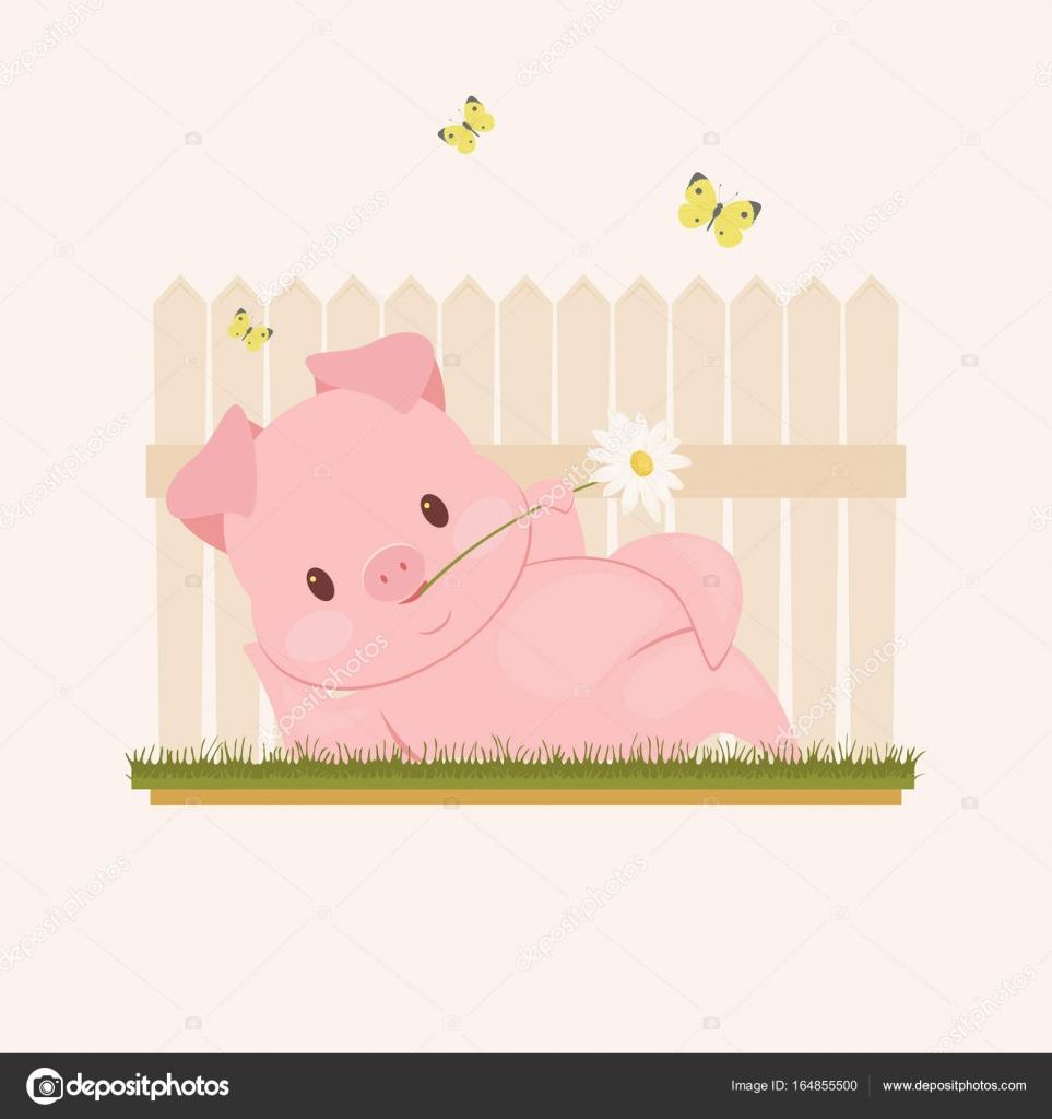 Funny Pig Character Stock Vector Natalie Art 164855500