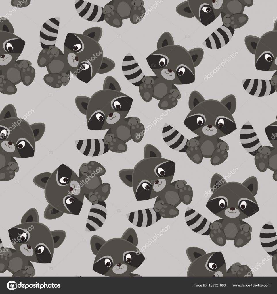 e3dc7a28de995b Waschbär Zeichentrickfigur auf grauem Hintergrund. Nahtloser Vektor Muster  Tapete. Stoff-Design für jungen — Vektor von ...