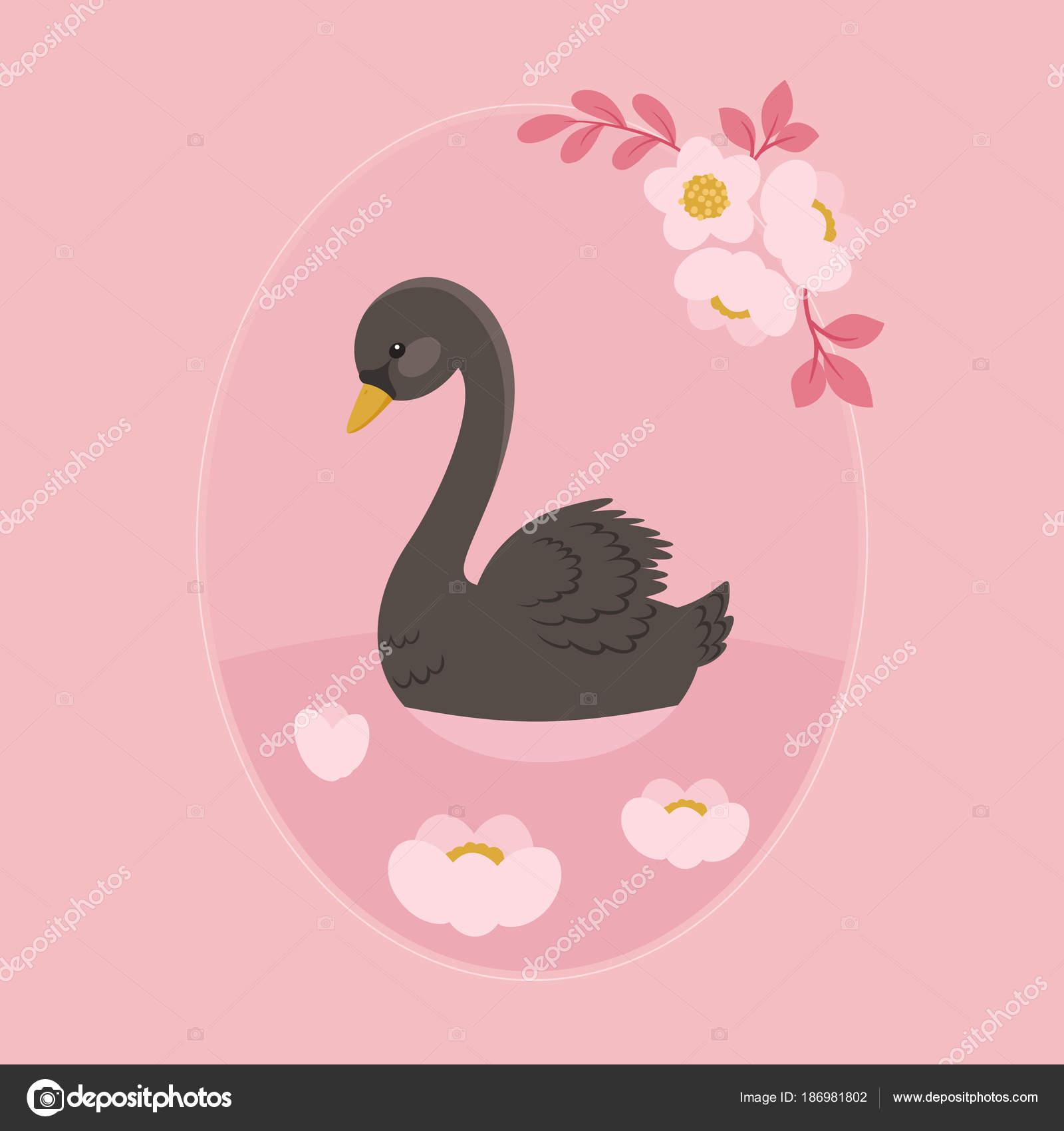Cisne negro nadando en el lago floral — Archivo Imágenes Vectoriales ...