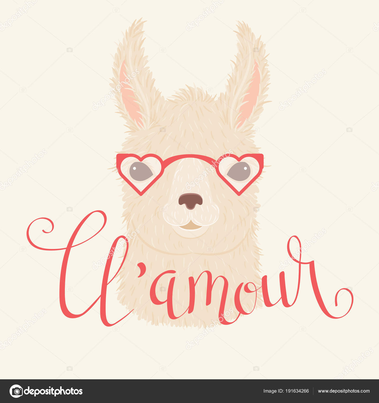 118b7cc4696 Llama Heart Shaped Glasses Vector Illustration Hand Lettering Amour French  — Stock Vector