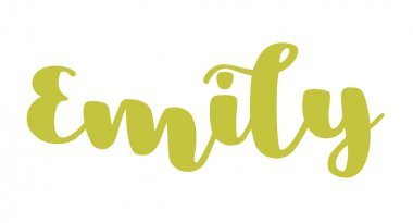 German spelling of the female name Emily. German lettering. Deutsch spelling. Calligraphy female name, isolated over white.