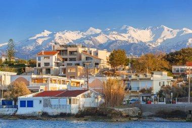 Coastline of Kato Galatas town with Samaria mountains