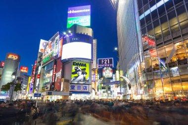 Shibuya scramble crossing in Tokyo at night, Japan