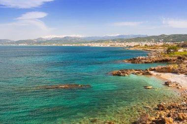 Coastline of Kissamos town on Crete with Samaria mountains