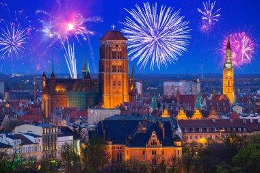 New Years firework display in Gdansk