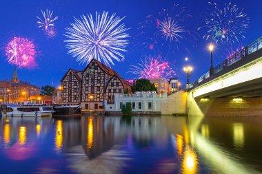 New Years firework display in Bydgoszcz city, Poland
