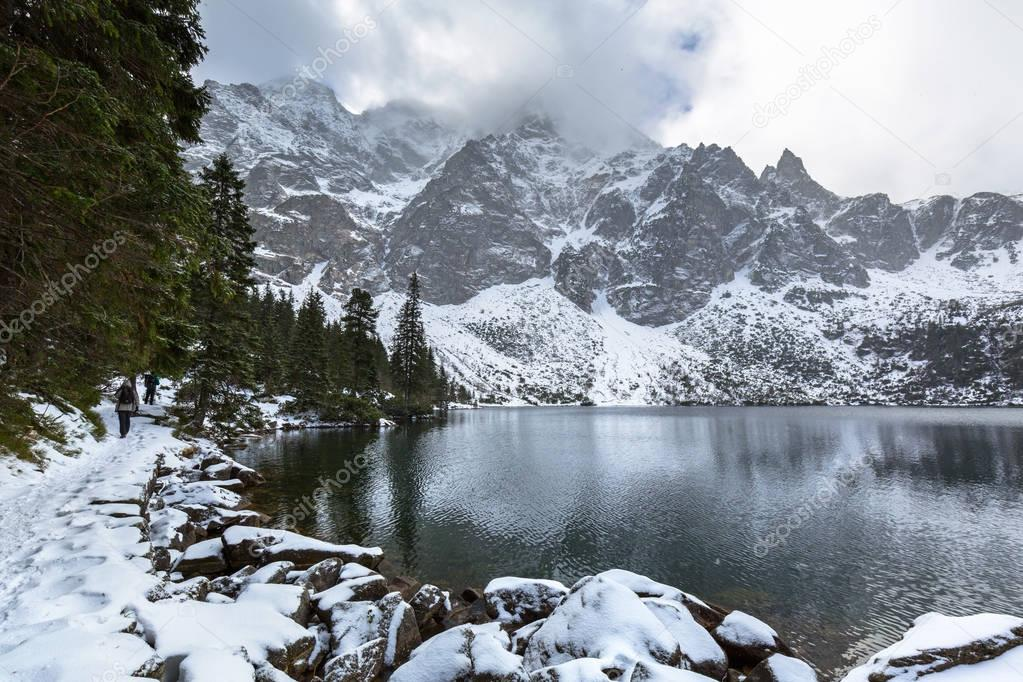 Beautiful winter in Tatra mountains at Eye of the Sea lake
