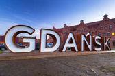 Gdaňsk město venkovní znak na Olowianka island, Polsko