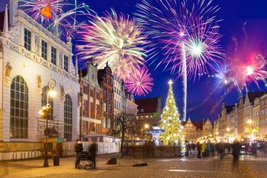 Beautiful Christmas tree in old town of Gdansk, Poland