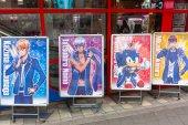 Tokio, Japonsko - 14. listopadu 2016: Manga kreslený postavy na ulici metropole Tokio, Japonsko. Metropole Tokio je hlavní a nejlidnatější město Japonska