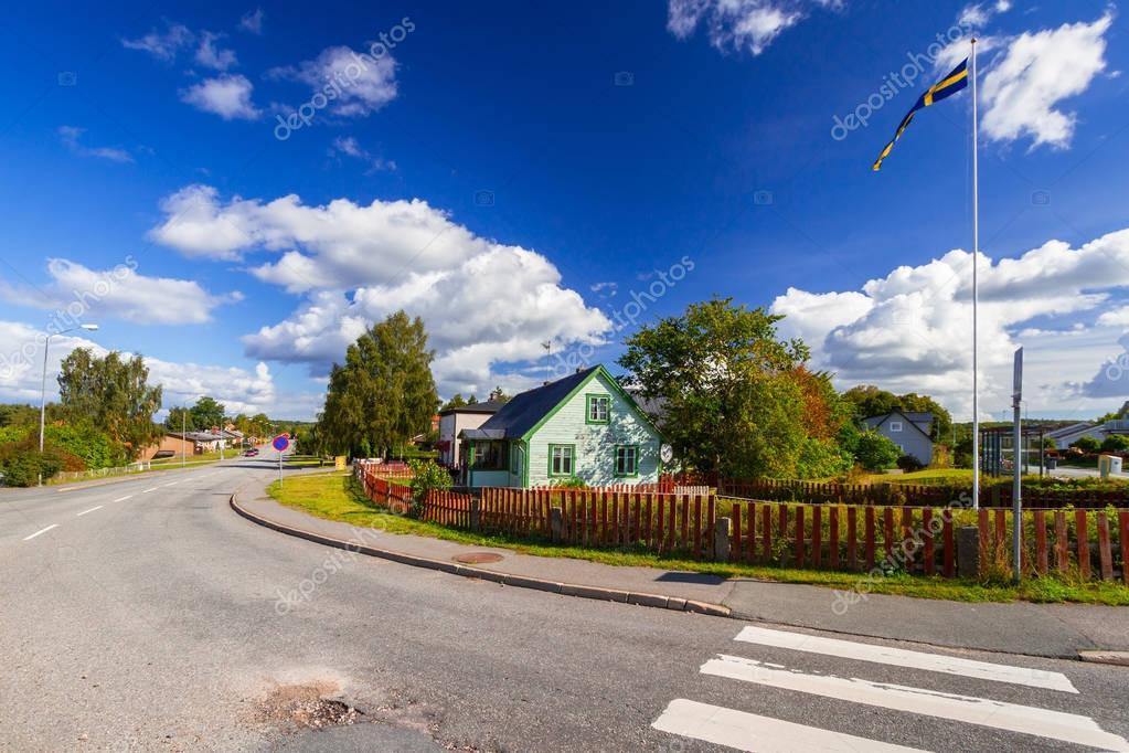 Scenery of small village in summer time, Sweden