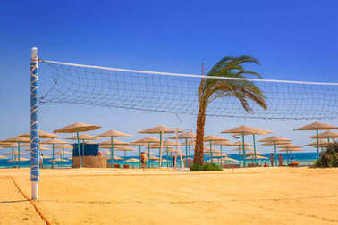 Volleyball court on the beach of Red Sea in Hurghada, Egypt