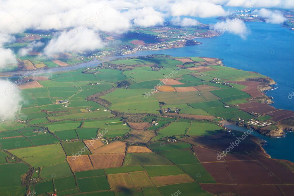 Aerial view of irish coastline