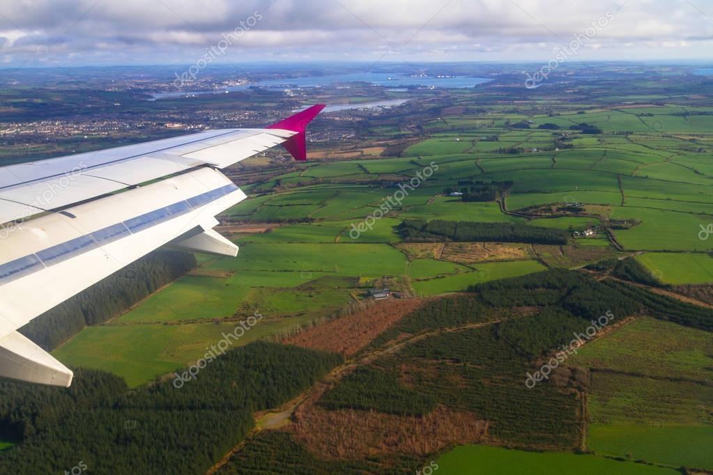 Aerial view of green fields in Ireland