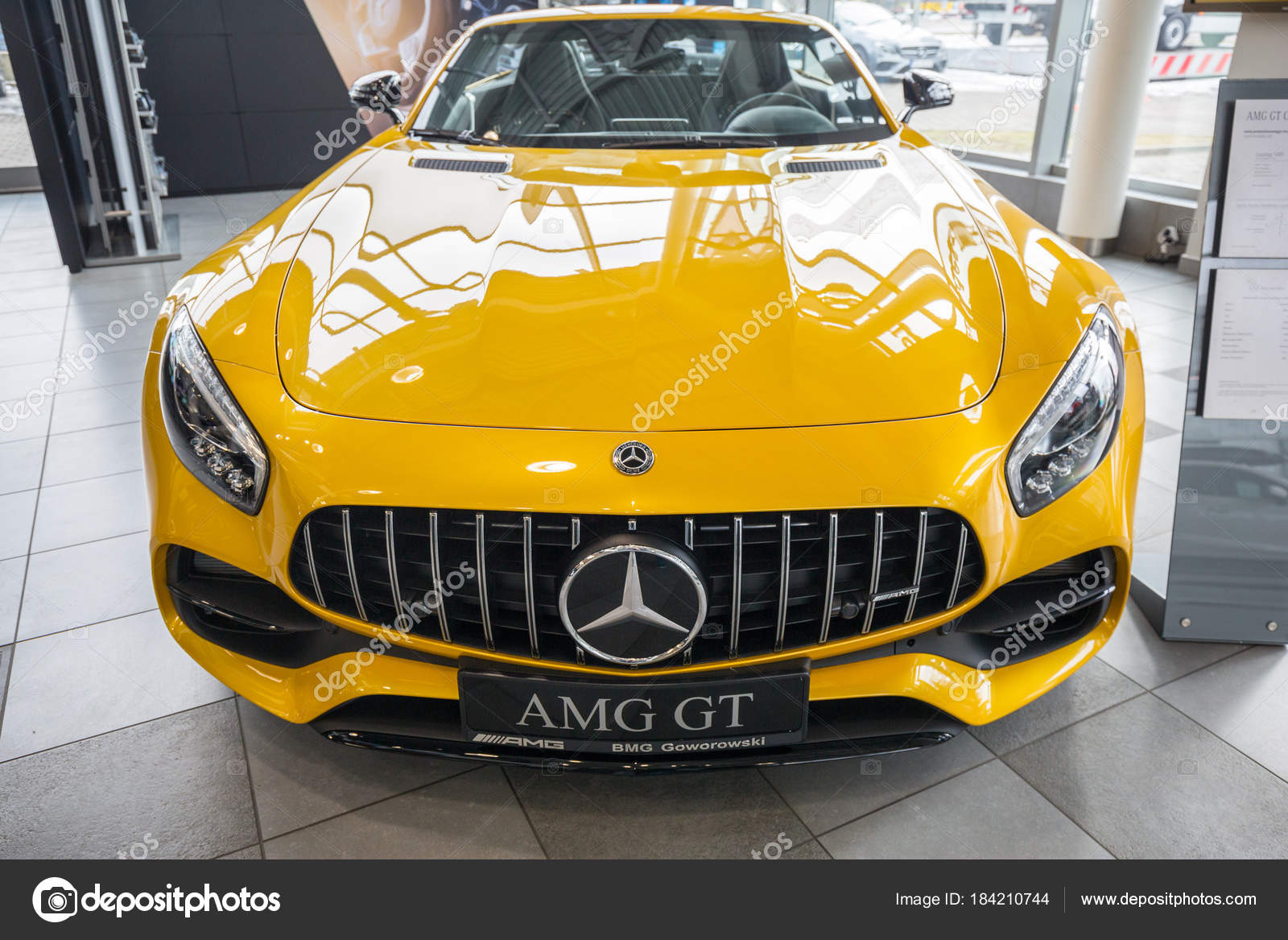 GDANSK, POLAND   FEBRUARY 13, 2018: Yellow Mercedes GT C Roadster In The Car  Showroom Of Gdansk, Poland. Mercedes GT C A 2 Seater Fastback Roadster  Produced ...