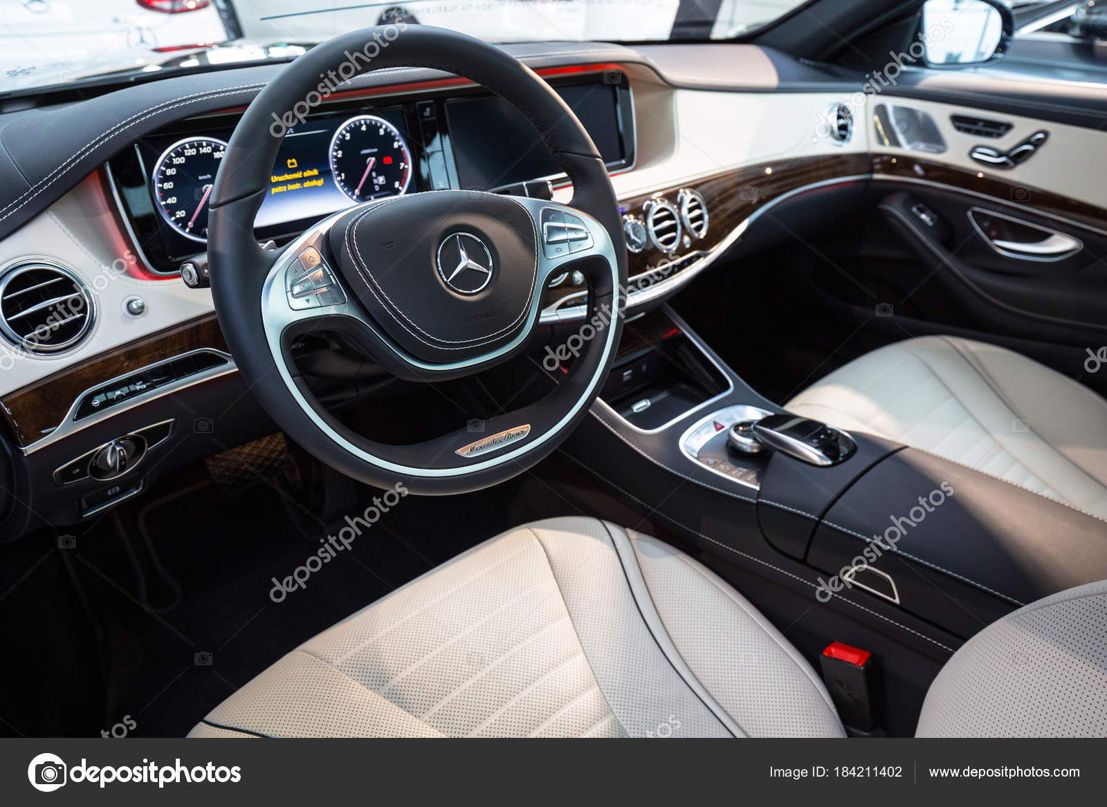 gdansk poland february 2018 luxury interior new mercedes class car stock editorial photo. Black Bedroom Furniture Sets. Home Design Ideas