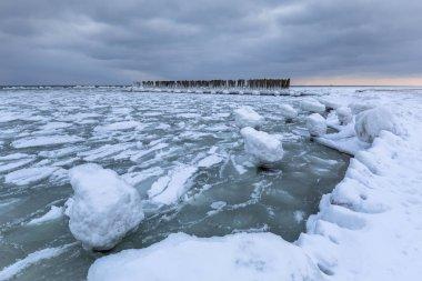 Frozen coastline of Baltic Sea in Gdynia, Poland