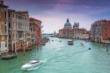 Venice city at sunset with Santa Maria della Salute Basilica, Italy stock vector