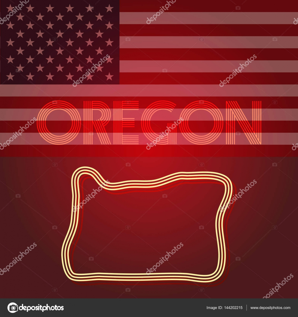 Oregon map of of geometric squares, part of the United States of ...
