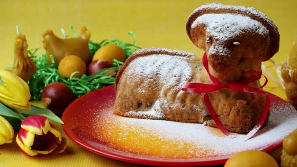 Traditional easter lamb cake sprinkled with sugar. Easter decoration