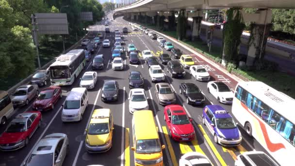 Heavy traffic on crossroad of Yanan East Road and Xizang South Road, Shanghai, China