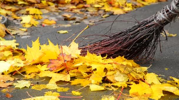 Podzimní listí na chodníku a koště