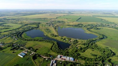 Top viev of two pond in central region in Russia