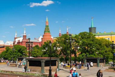 Moscow, Russia - May 14. 2016. View of Kremlin from the Manezhnaya Square