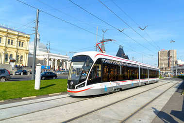 Moscow, Russia - September 25. 2017. New tram is at stop of Komsomolskaya Square