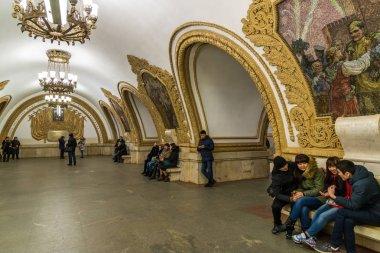 Moscow, Russia - February 21.2016. Metro station of Kievskaya circular