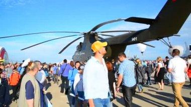 Zhukovsky, Russia - July 24. 2017. Russian heavy multipurpose transport helicopter Mi 26 at international aerospace show MAKS 2017