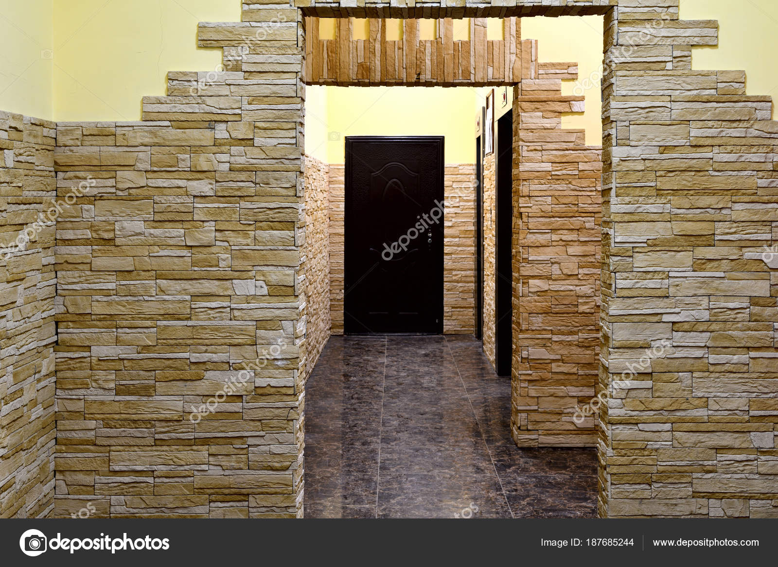 interior of entrance in a modern apartment building stock photo