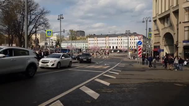 Moscow, Russia - April 30. 2018. traffic in square of Varvarskie Vorota
